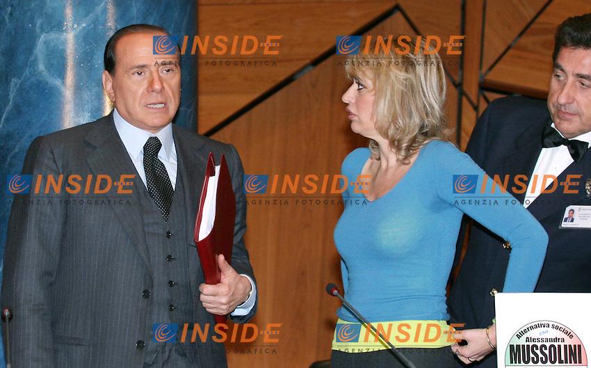 Roma 17 02 2006 Palazzo Marini:Conferenza Stampa di Silvio Berlusconi e Alessandra Mussolini<br /> Nella foto Silvio Berlusconi e Alessandra Mussolini<br /> Photo Serena Cremaschi Insidefoto