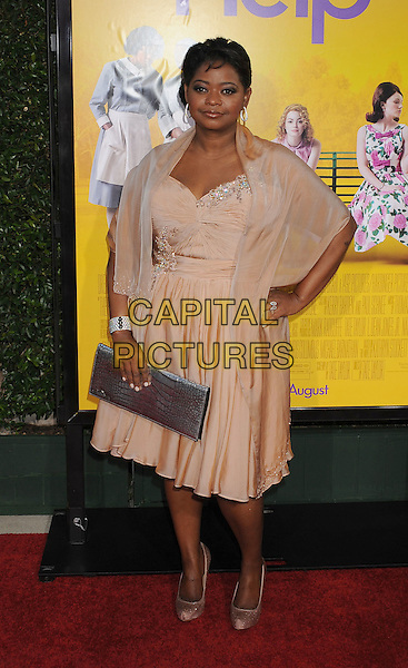 "Octavia Spencer.arriving at the Los Angeles Premiere of ""The Help"" at the Samuel Goldwyn Theater inside the Academy of Motion Picture Arts and Sciences in Beverly Hills, California, USA, August 9th 2011..full length beige dress wrap hand on hip .CAP/ROT/TM.©TM/Roth Stock/Capital Pictures"