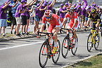 The breakaway group featuring Dimitri Claeys (BEL) and Anthony Perez (FRA) Cofidis and Jerome Cousin (FRA) Direct Energie during Stage 4 of the 2018 Tour de France running 195km from La Baule to Sarzeau, France. 10th July 2018. <br /> Picture: ASO/Pauline Ballet | Cyclefile<br /> All photos usage must carry mandatory copyright credit (&copy; Cyclefile | ASO/Pauline Ballet)
