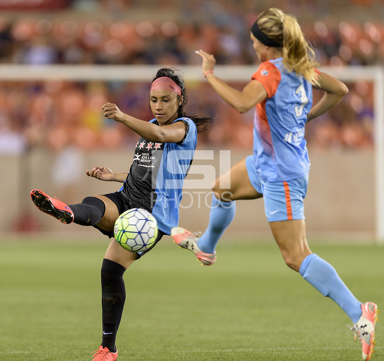 Houston Texas - Samantha Johnson (16) of the Chicago Red Stars clears the ball from her side of the field in the first half against the Houston Dash on Saturday, April 16, 2016 at BBVA Compass Stadium in Houston Texas.  The Houston Dash defeated the Chicago Red Stars 3-1.