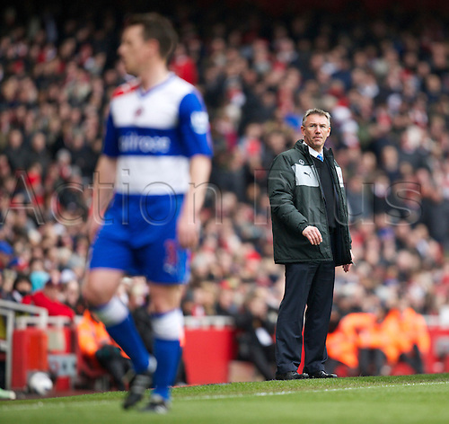 30.03.2013 London, England. New Reading manager Nigel Adkins during the Premier League game between Arsenal and Reading from the Emirates Stadium.