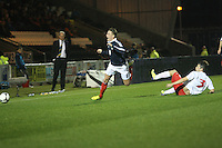 Scott Allan fouled by Pit Hess in the Scotland v Luxembourg UEFA Under 21 international qualifying match at St Mirren Park, Paisley on 6.9.12.