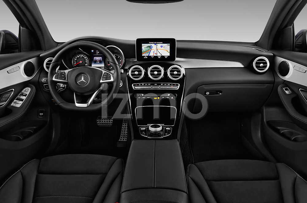 Stock photo of straight dashboard view of 2017 Mercedes Benz GLC-Coupe 220-D 5 Door SUV Dashboard