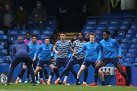 The Tottenham U23 side warm up pre-match during Chelsea Under-23 vs Tottenham Hotspur Under-23, Premier League 2 Football at Stamford Bridge on 13th April 2018