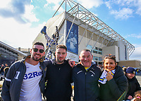 Irish Leeds United fans pose for a photo outside Elland Road before the match<br /> <br /> Photographer Alex Dodd/CameraSport<br /> <br /> The EFL Sky Bet Championship - Leeds United v Sheffield Wednesday - Saturday 13th April 2019 - Elland Road - Leeds<br /> <br /> World Copyright © 2019 CameraSport. All rights reserved. 43 Linden Ave. Countesthorpe. Leicester. England. LE8 5PG - Tel: +44 (0) 116 277 4147 - admin@camerasport.com - www.camerasport.com