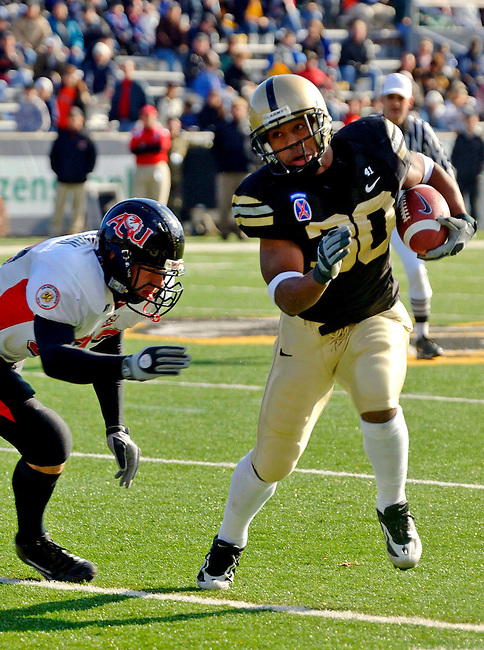 On 11/19/05 Army beat Arkansas State 38-50, marking Army's 4th consecutive win for the 05' football season. With this victory coach Bobby Ross reached his 100th career win. Keeping up with the West Point tradition, after the game, the jubilant cadets tore down the goal posts and dumped them into the lake behind the stadium.
