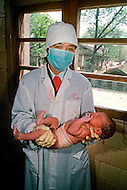 April 15th, 1989, Jiangxi Province, China: daily life, new born baby at the Popular Hospital of Poyang.