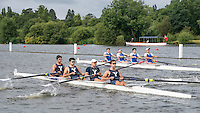 "Henley on Thames. United Kingdom. Heat of the Prince Albert Challenge Cup, Yale University, ""lagging behind"" Newcastle University.     Friday,  01/07/2016,      2016 Henley Royal Regatta, Henley Reach.   [Mandatory Credit Peter Spurrier/ Intersport Images]"