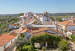 View over rooftops of whitewashed houses and streets in the small rural settlement village of Terena, Alentejo Central, Portugal, Southern Europe