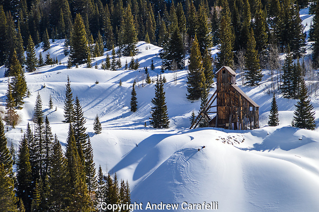 "Discovered accidentally by a hunter in 1882, the Yankee Girl Mine near Ouray, Colorado turned out to be the ""mother lode"" and one of the richest silver mines in Colorado history. Here, the Headworks of the mine sit in a fresh coating of snow."