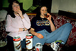 Girls binge drinking and smoking in a public bar. Jo and Laura, are on a Youth Training Scheme. They are on a girls Night Out. Mountain Ash. Wales 1990s 1998   UK