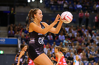 10.02.2017 Silver Ferns Kelly Jury in action during the Silver Ferns v England Roses Vitality Netball International Series test match played at the Echo Arena in Liverpool. Mandatory Photo Credit © Paul Greenwood/Michael Bradley Photography.