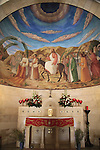 Israel, Jerusalem, a fresco depicting Jesus riding a donkey to the Temple, accompanied by his disciples at the Franciscan Church of Bethphage on the Mount of Olives