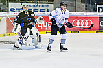 Nuernbergs Alanov vor Ingolstadts PIelmeier beim Spiel in der DEL, ERC Ingolstadt (blau) - Nuernberg Ice Tigers (weiss).<br /> <br /> Foto &copy; PIX-Sportfotos *** Foto ist honorarpflichtig! *** Auf Anfrage in hoeherer Qualitaet/Aufloesung. Belegexemplar erbeten. Veroeffentlichung ausschliesslich fuer journalistisch-publizistische Zwecke. For editorial use only.
