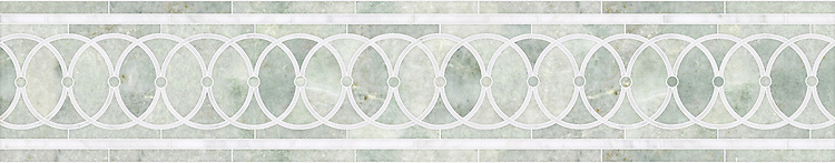 """7 7/8"""" Satori border, a hand-cut mosaic shown in polished Thassos and Ming Green by New Ravenna."""