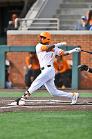 University of Tennessee Alerick Soularie (1) swings at a pitch during a game against Western Illinois at Lindsey Nelson Stadium on February 15, 2020 in Knoxville, Tennessee. The Volunteers defeated Leathernecks 19-0. (Tony Farlow/Four Seam Images)