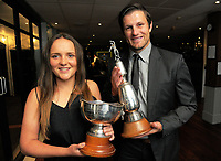 Players of the year Amelia Kerr and Hamish Bennett. 2017 Cricket Wellington Norwood Awards dinner at the Port Nicholson Yacht Club in Wellington, New Zealand on Monday, 3 April 2017. Photo: Dave Lintott / lintottphoto.co.nz