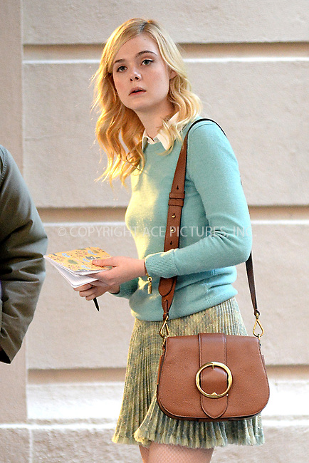 www.acepixs.com<br /> October 18, 2017 New York City<br /> <br /> Elle Fanning seen on location for the Woody Allen Summer Project in New York City on October 18, 2017.<br /> <br /> Credit: Kristin Callahan/ACE Pictures<br /> <br /> Tel: 646 769 0430<br /> Email: info@acepixs.com