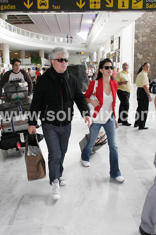 "**ALL ROUND PICTURES FROM SOLARPIX.COM**.**WORLDWIDE SYNDICATION RIGHTS EXCLUDING SPAIN - NO PUBLICATION IN SPAIN**.Spanish actress Penelope Cruz arriving today with film Director Pedro Almadova at Lanzarote airport in the Canary Islands in Spain to start filming her new film ""The Broken Arms""..JOB REF: 6502         PTB      DATE: 24.05.08.**MUST CREDIT SOLARPIX.COM OR DOUBLE FEE WILL BE CHARGED* *UNDER NO CIRCUMSTANCES IS THIS IMAGE TO BE REPRODUCED FOR ANY ONLINE EDITION WITHOUT PRIOR PERMISSION*"