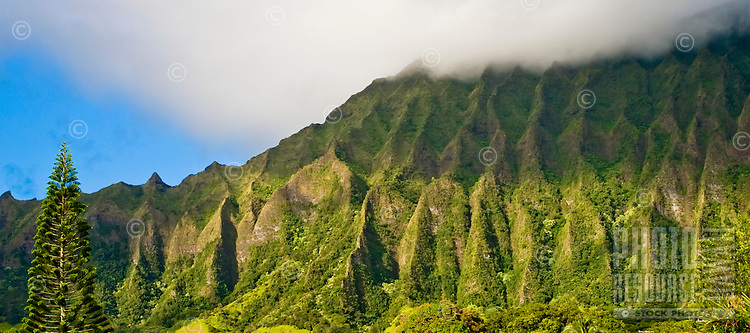 The Koolau Mountains meet the clouds