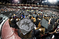 Annabeth Ford, a graduating accounting major from Baldwyn, shows off her decorated cap during Mississippi State's spring 2018 commencement ceremonies. Ford is one of approximately 3,200 candidates for spring degrees and will join the ranks of MSU's more than 142,000 living alumni. <br />