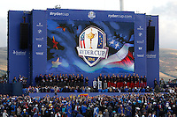 The European and USA teams on stage during the Sunday Singles Matches of the Ryder Cup at Gleneagles Golf Club on Sunday 28th September 2014.<br /> Picture:  Thos Caffrey / www.golffile.ie