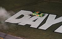 Jul. 5, 2008; Daytona Beach, FL, USA; NASCAR Sprint Cup Series driver Kyle Busch celebrates after winning the Coke Zero 400 at Daytona International Speedway. Mandatory Credit: Mark J. Rebilas-