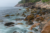 Acadia National Park, Maine:<br /> Surf washed boulders on Hunters Beach
