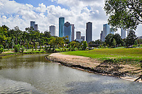 This is the Houston skyline from the bridge over the Buffalo Bayou in the parks near downtown where you can see the city as you walk the trails.