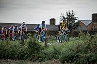 Peloton over the cobbles. <br /> <br /> 103th Kampioenschap van Vlaanderen 2018 (UCI 1.1)<br /> Koolskamp &ndash; Koolskamp (186km)
