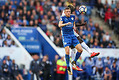 9th September 2017, King Power Stadium, Leicester, England; EPL Premier League Football, Leicester City versus Chelsea; Jamie Vardy of Leicester City jumps to get his head to the ball first