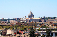 Rome  August  21 2008.View of the city and the Saint. Peter's church from the Pincio.