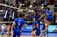 GRONINGEN - Volleybal, Lycurgus - Vocasa, Eredivisie, seizoen 2019-2020, 08-02-2020,  Lycurgus speler Frits van Gestel slaat de bal in het net