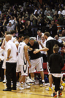 The Tall Blacks are cheered by the crowd as the game runs into the final minute during the International basketball match between the NZ Tall Blacks and Australian Boomers at TSB Bank Arena, Wellington, New Zealand on 25 August 2009. Photo: Dave Lintott / lintottphoto.co.nz