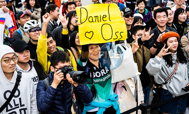 Daniel Oss (ITA) Bora-Hansgrohe fan at the team presentation before the start of the 2018 Shanghai Criterium, Shanghai, China. 17th November 2018.<br /> Picture: ASO/Alex Broadway | Cyclefile<br /> <br /> <br /> All photos usage must carry mandatory copyright credit (© Cyclefile | ASO/Alex Broadway)
