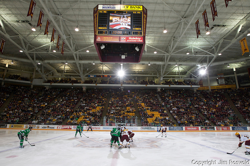 4 Nov 11: Opening faceoff.  The University of Minnesota Golden Gophers host the University of North Dakota Fighting Sioux in a WCHA matchup at Mariucci Arena in Minneapolis, MN.