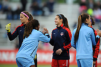 Boyds, MD - Saturday May 6, 2017: Stephanie Labbé, Arielle Ship, Kayla Mills  prior to a regular season National Women's Soccer League (NWSL) match between the Washington Spirit and Sky Blue FC at Maureen Hendricks Field, Maryland SoccerPlex.