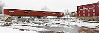 63904-03401 Panoramic of Bridgeton Covered Bridge in winter at Bridgeton, IN