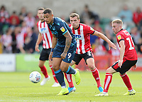Bristol Rovers' Jonson Clarke-Harris looks to get away from Lincoln City's Harry Toffolo<br /> <br /> Photographer Rich Linley/CameraSport<br /> <br /> The EFL Sky Bet League One - Lincoln City v Bristol Rovers - Saturday September 14th 2019 - Sincil Bank - Lincoln<br /> <br /> World Copyright © 2019 CameraSport. All rights reserved. 43 Linden Ave. Countesthorpe. Leicester. England. LE8 5PG - Tel: +44 (0) 116 277 4147 - admin@camerasport.com - www.camerasport.com