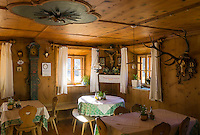 """Italy, Alto Adige - Trentino (South Tyrol), place of pilgrimage """"Madonna di Senales"""" (lit: Our Lady) at valley Val Senales: restaurant """"Schnalser Unterwirt"""" 
