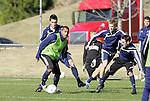 10 December 2009: Akron's Teal Bunbury (left) and teammates practice. The University of Akron Zips held a training session at Koka Booth Stadium at WakeMed Soccer Park in Cary, North Carolina on the day before playing North Carolina in an NCAA Division I Men's College Cup semifinal game.