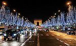 The Champs Elysees, seen at night during Christmas week