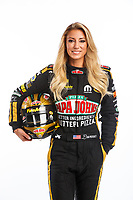 Jan 9, 2018; Brownsburg, IN, USA; NHRA top fuel driver Leah Pritchett poses for a portrait during a photo shoot at Don Schumacher Racing. Mandatory Credit: Mark J. Rebilas-USA TODAY Sports