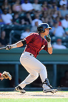 Right fielder Victor Cruzado (18) of the Savannah Sand Gnats bats in a game against the Greenville Drive on Sunday, June 22, 2014, at Fluor Field at the West End in Greenville, South Carolina. Greenville won, 7-3. (Tom Priddy/Four Seam Images)