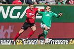 13.04.2019, Weserstadion, Bremen, GER, 1.FBL, Werder Bremen vs SC Freiburg<br /> <br /> DFL REGULATIONS PROHIBIT ANY USE OF PHOTOGRAPHS AS IMAGE SEQUENCES AND/OR QUASI-VIDEO.<br /> <br /> im Bild / picture shows<br /> Christian Günter / Guenter (SC Freiburg #30) im Duell / im Zweikampf mit Maximilian Eggestein (Werder Bremen #35), <br /> <br /> Foto © nordphoto / Ewert