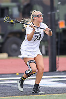 Towson, MD - March 25, 2017: Towson Tigers Carly Tellekamp (23) in action during game between Towson and Oregon at  Minnegan Field at Johnny Unitas Stadium  in Towson, MD. March 25, 2017.  (Photo by Elliott Brown/Media Images International)
