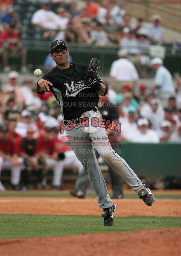 Aaron Boone of the Florida Marlins vs. the Houston Astros March 15th, 2007 at Osceola County Stadium in Kissimmee, FL during Spring Training action.  Photo By Mike Janes/Four Seam Images