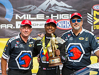 Jul 23, 2017; Morrison, CO, USA; NHRA top fuel driver Antron Brown celebrates with crew after winning the Mile High Nationals at Bandimere Speedway. Mandatory Credit: Mark J. Rebilas-USA TODAY Sports