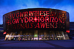 Marking 50 days to go to the Commonwealth Games the Millennium Centre in Cardiff Bay is lit up red to show its support for Team Wales.<br /> 23.06.14<br /> &copy;Steve Pope-SPORTINGWALES