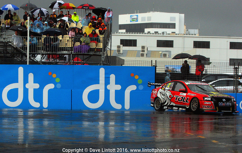 Garth Tander overshoots the hairpin during race one. V8 Supercars - ITM 400 day two at Hamilton Street Circuit, Hamilton, New Zealand on Saturday, 16 April 2011. Photo: Dave Lintott / lintottphoto.co.nz